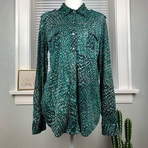 Tory Burch Silk Long sleeve Button Down Shirt